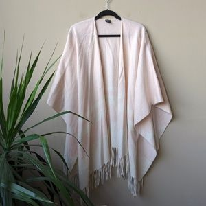 Dillard's Pink Plaid Fringe Cashmere Blanket Cape